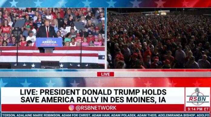 Trump Rally Des Moines Iowa on October 9, 2021
